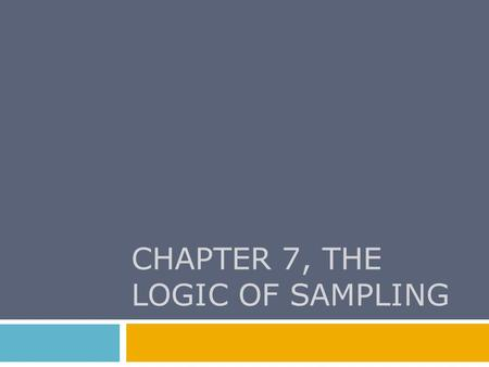 CHAPTER 7, THE LOGIC OF SAMPLING. Chapter Outline  A Brief History of Sampling  Nonprobability Sampling  The Theory and Logic of Probability Sampling.