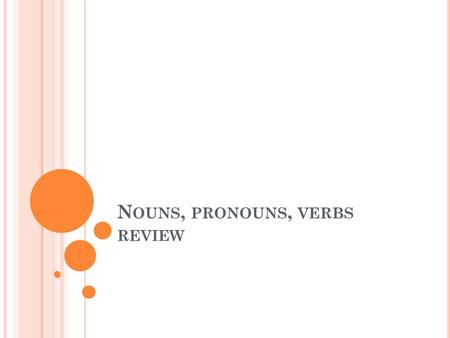 N OUNS, PRONOUNS, VERBS REVIEW. N OUN = P ERSON, PLACE, THING, IDEA Person: Stephanie, Dr. Edelstein, teacher Place: Chicago, island, Italy, college Thing: