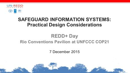 SAFEGUARD INFORMATION SYSTEMS: Practical Design Considerations REDD+ Day Rio Conventions Pavilion at UNFCCC COP21 7 December 2015.