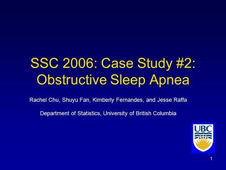 """Case Study 20: """"Obstructive Sleep Apnea"""" - Term Paper"""