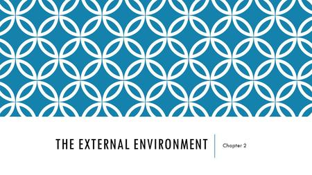 THE EXTERNAL ENVIRONMENT Chapter 2. The Organization Owners & Directors Managers Employees The Task Environment Gov't agencies Competitors Unions Suppliers.