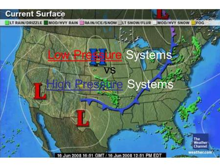 Low Pressure Systems vs High Pressure Systems. Let's Compare Low Pressure Systems (L) High Pressure Systems (H)