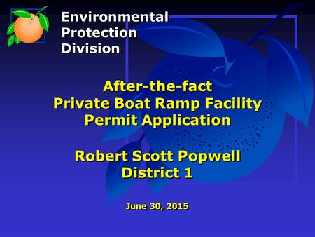 After-the-fact Private Boat Ramp Facility Permit Application Robert Scott Popwell District 1 June 30, 2015 Environmental Protection Division Environmental.