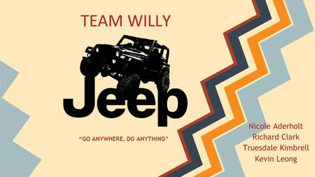 "Nicole Aderholt Richard Clark Truesdale Kimbrell Kevin Leong TEAM WILLY ""GO ANYWHERE, DO ANYTHING"""