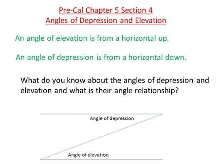 An angle of elevation is from a horizontal up. An angle of depression is from a horizontal down. Angle of elevation Angle of depression What do you know.