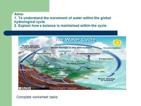 Aims- 1. To understand the movement of water within the global hydrological cycle. 2. Explain how a balance is maintained within the cycle. Complete worksheet.