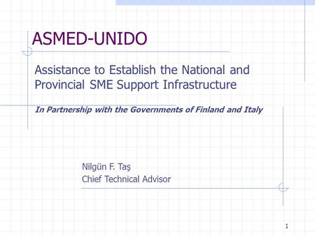 1 ASMED-UNIDO Assistance to Establish the National and Provincial SME Support Infrastructure In Partnership with the Governments of Finland and Italy Nilgün.