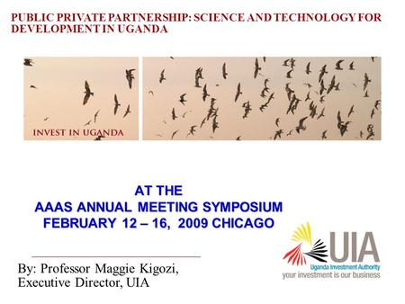 Uganda Investment Authority 1 AT THE AAAS ANNUAL MEETING SYMPOSIUM FEBRUARY 12 – 16, 2009 CHICAGO By: Professor Maggie Kigozi, Executive Director, UIA.