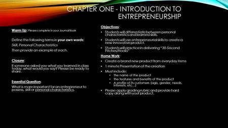 CHAPTER ONE - INTRODUCTION TO ENTREPRENEURSHIP Warm Up : Please complete in your Journal Book Define the following terms in your own words: Skill, Personal.