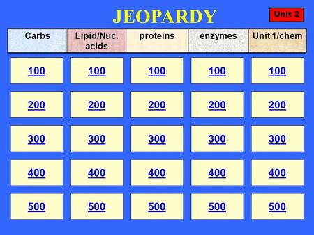 JEOPARDY 100 200 100 200 300 400 500 300 400 500 100 200 300 400 500 100 200 300 400 500 100 200 300 400 500 CarbsLipid/Nuc. acids proteinsenzymesUnit.