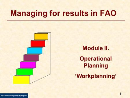 1 RBM Workplanning and Budgeting-FAO Managing for results in FAO Module II. Operational Planning 'Workplanning'