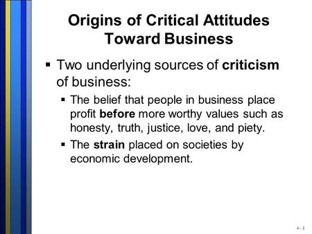 Origins of Critical Attitudes Toward Business