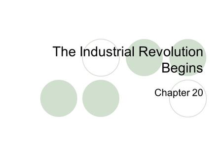 The Industrial Revolution Begins Chapter 20. Vocabulary Memorize the following.