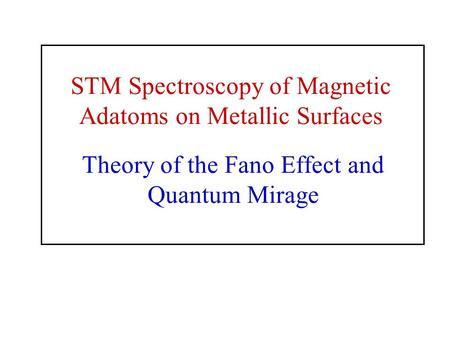 Theory of the Fano Effect and Quantum Mirage STM Spectroscopy of Magnetic Adatoms on Metallic Surfaces.