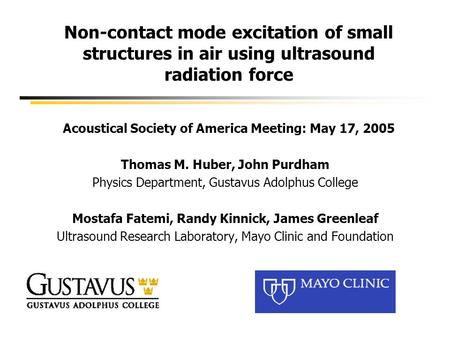 Non-contact mode excitation of small structures in air using ultrasound radiation force Acoustical Society of America Meeting: May 17, 2005 Thomas M. Huber,