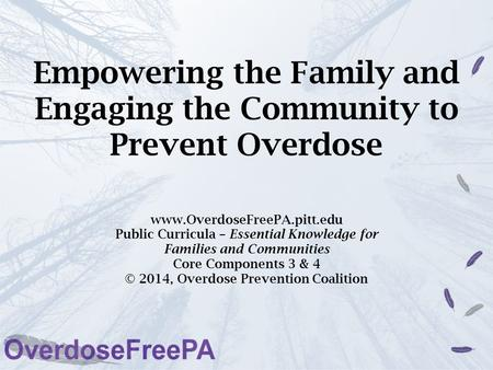 Empowering the Family and Engaging the Community to Prevent Overdose www.OverdoseFreePA.pitt.edu Public Curricula – Essential Knowledge for Families and.