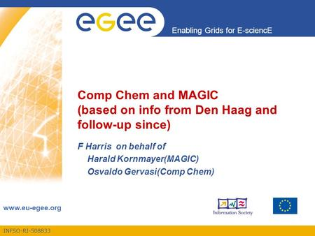 INFSO-RI-508833 Enabling Grids for E-sciencE www.eu-egee.org Comp Chem and MAGIC (based on info from Den Haag and follow-up since) F Harris on behalf of.