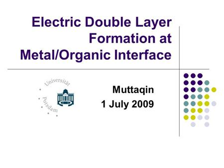 Electric Double Layer Formation at Metal/Organic Interface Muttaqin 1 July 2009.