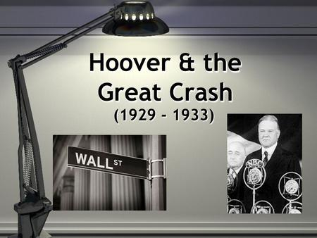 Hoover & the Great Crash (1929 - 1933). Labor Unrest Gastonia Strike (1929) S. Textile Mill 1,000 on strike Natl. Guard ; 2 workers killed Vigilante violence.