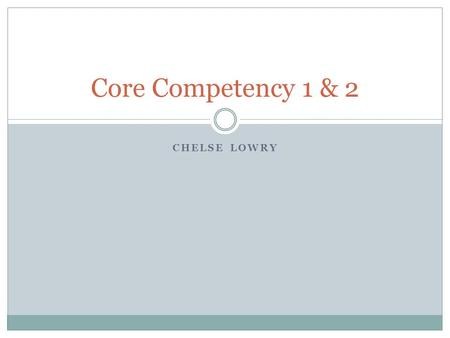 CHELSE LOWRY Core Competency 1 & 2. Core Competency 1 Identify as a professional social worker and conduct oneself accordingly.