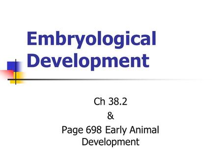 Embryological Development Ch 38.2 & Page 698 Early Animal Development.