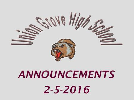 ANNOUNCEMENTS 2-5-2016. TODAY Feb 5 th is the last day to turn in Senior apparel order forms to Mr. Potter or Ms. Martin SENIORS.