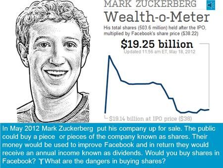 starter activity Describe the picture or source here. In May 2012 Mark Zuckerberg put his company up for sale. The public could buy a piece or pieces.
