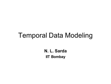 Temporal Data Modeling