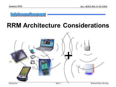 Doc.: IEEE 802.11-03/125r0 Submission Slide 1 January 2003 Richard Paine, Boeing + RRM Architecture Considerations.