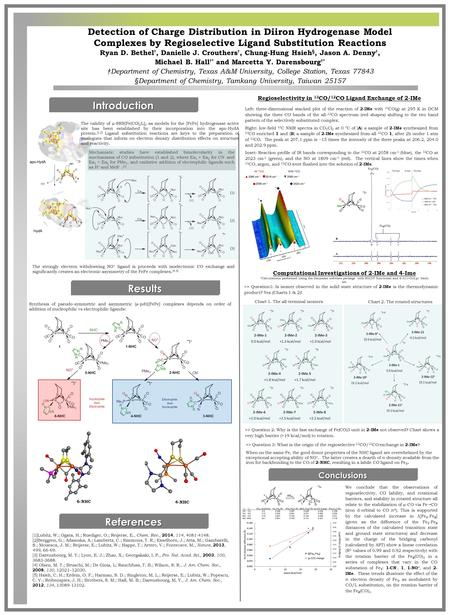Detection of Charge Distribution in Diiron Hydrogenase Model Complexes by Regioselective Ligand Substitution Reactions Ryan D. Bethel †, Danielle J. Crouthers.