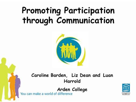 Promoting Participation through Communication Caroline Barden, Liz Dean and Luan Harrold Arden College.
