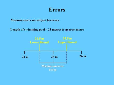 Errors Measurements are subject to errors. Length of swimming pool = 25 metres to nearest metre 25.5 m Upper Bound 25 m 26 m 24 m 24.5 m Lower Bound Maximum.
