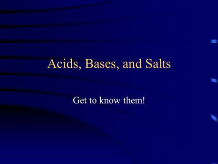 Acids, Bases, and Salts Get to know them!. Facts about Acids and Bases An acid is a substance that produces Hydrogen Ions ( H + ). A bases is a substance.