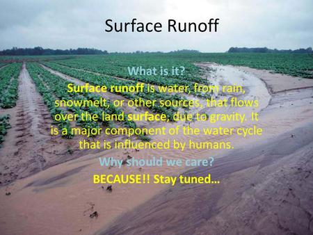 Surface Runoff What is it?