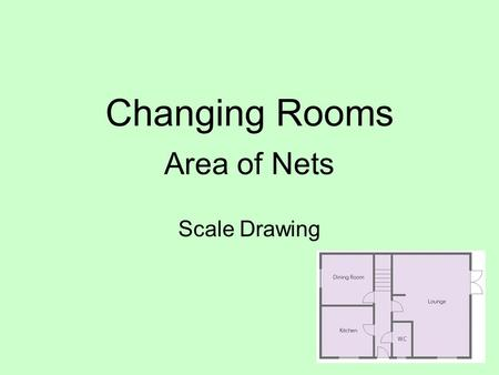 Changing Rooms Area of Nets Scale Drawing. CEILING Scale 1:50 6cm 6 x 50 = 300 = 3m 4.5cm 4.5 x 50 = 225 = 2.25m Area = 2.25 x 3 = 6.75m 2 WALL.