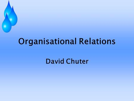 Organisational Relations David Chuter. A Preliminary Warning This is not the British Government speaking Most of what I say is based on personal experience.