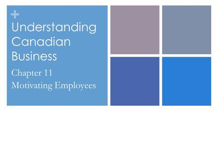 + Understanding Canadian Business Chapter 11 Motivating Employees.