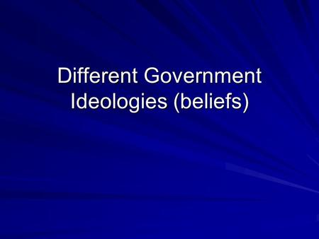 Different Government Ideologies (beliefs). Vocab! Ideology—The body of beliefs that guides a country Sovereignty— Independent power to rule your own country.