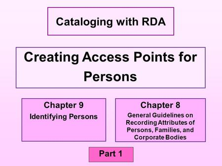 Creating Access Points for Persons Cataloging with RDA Part 1 Chapter 9 Identifying Persons Chapter 8 General Guidelines on Recording Attributes of Persons,