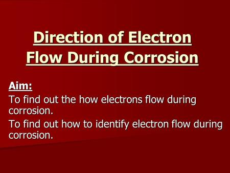 Direction of Electron Flow During Corrosion