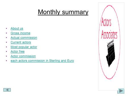 Monthly summary About us Gross income Actual commission Current actors Most popular actor Actor free Actor commission each actors commission in Sterling.