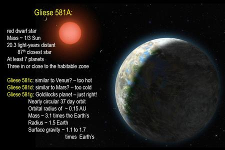 Gliese 581A: red dwarf star Mass ~ 1/3 Sun 20.3 light-years distant 87 th closest star At least 7 planets Three in or close to the habitable zone Gliese.