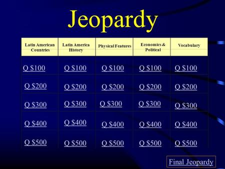 Jeopardy Latin American Countries Latin America History Physical Features Economics & Political Vocabulary Q $100 Q $200 Q $300 Q $400 Q $500 Q $100 Q.