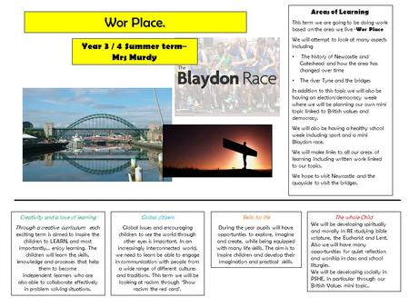 Areas of Learning This term we are going to be doing work based on the area we live - Wor Place We will attempt to look at many aspects including The history.