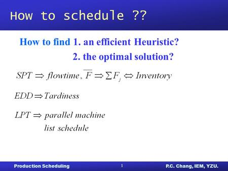 Production SchedulingP.C. Chang, IEM, YZU. 1 How to schedule ?? How to find 1. an efficient Heuristic? 2. the optimal solution?