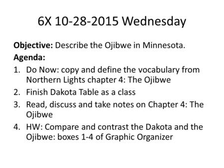 6X 10-28-2015 Wednesday Objective: Describe the Ojibwe in Minnesota. Agenda: 1.Do Now: copy and define the vocabulary from Northern Lights chapter 4: The.