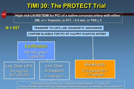 TIMI 30: The PROTECT Trial High-risk UA/NSTEMI for PCI of a native coronary artery with either DM; or + Troponin; or ST   0.5 mm; or TRS > 3 Bivalirudin.