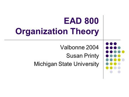EAD 800 Organization Theory Valbonne 2004 Susan Printy Michigan State University.