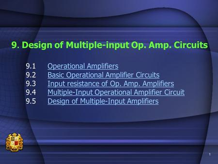 1 9. Design of Multiple-input Op. Amp. Circuits 9.1Operational AmplifiersOperational Amplifiers 9.2Basic Operational Amplifier CircuitsBasic Operational.