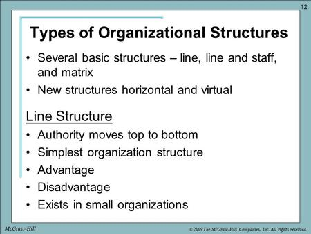 © 2009 The McGraw-Hill Companies, Inc. All rights reserved. 12 McGraw-Hill Types of Organizational Structures Several basic structures – line, line and.